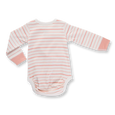 Peach French Stripe Long Sleeve Bodysuit - Sapling Organic Baby Clothes