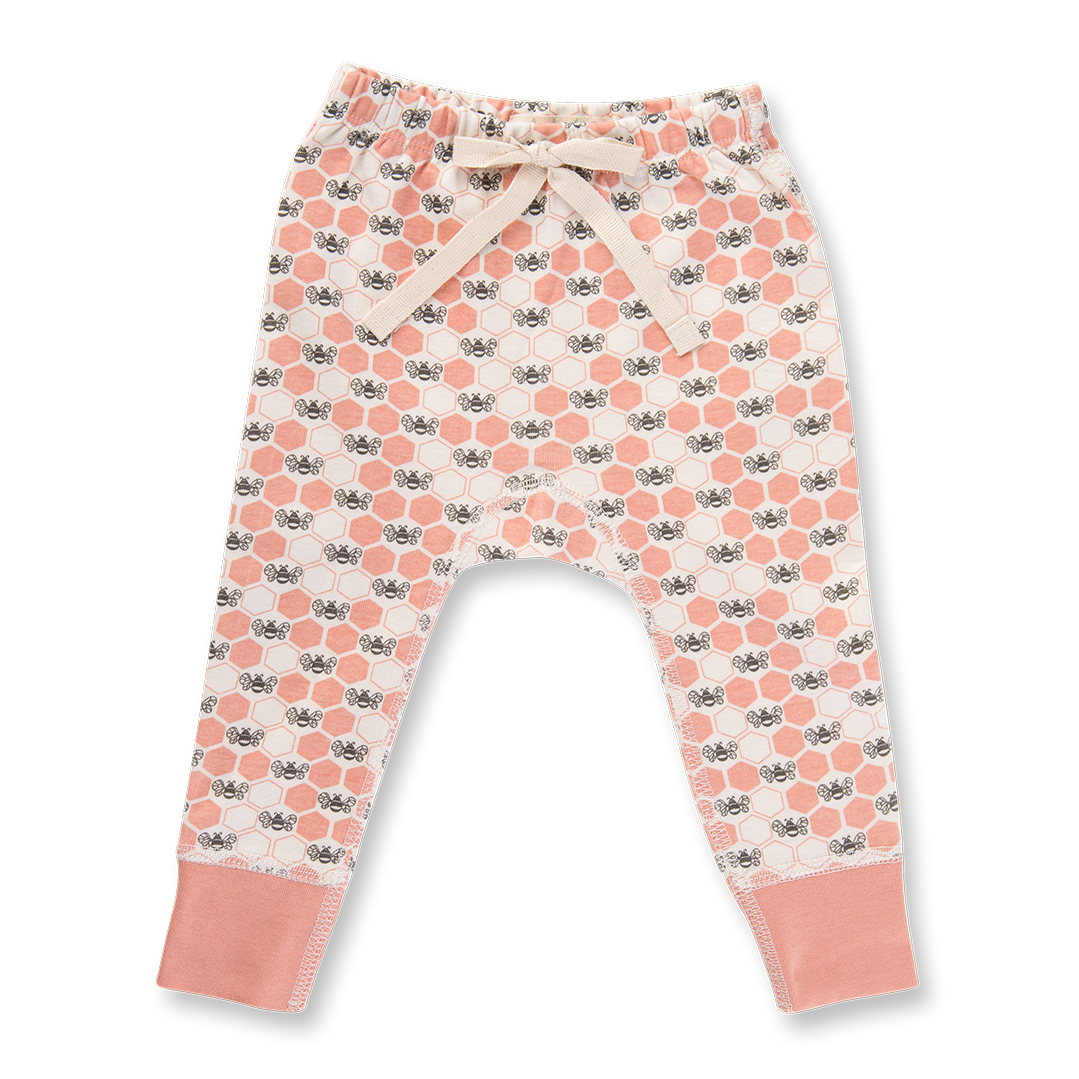 Peach Blossom Bees Pants - Sapling Organic Baby Clothes