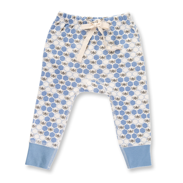 Cornflower Blue Bees Pants - Sapling Organic Baby Clothes