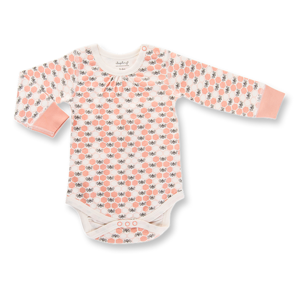 Peach Blossom Bees Long Sleeve Bodysuit - Sapling Child
