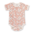Peach Blossom Bees Short Sleeve Bodysuit - Sapling Organic Baby Clothes