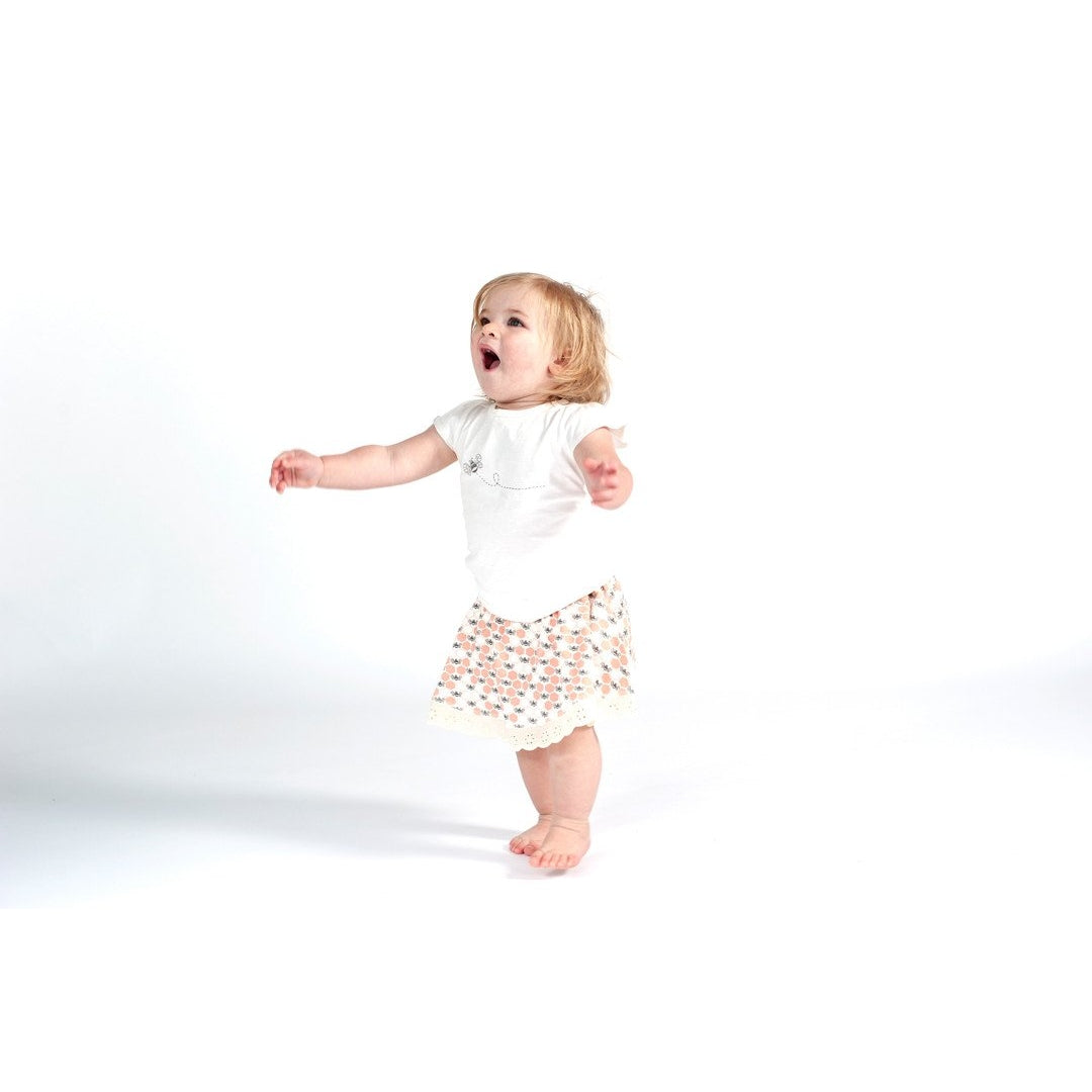 Peach Blossom Bees Skirt Bloomer - Sapling Organic Baby Clothes