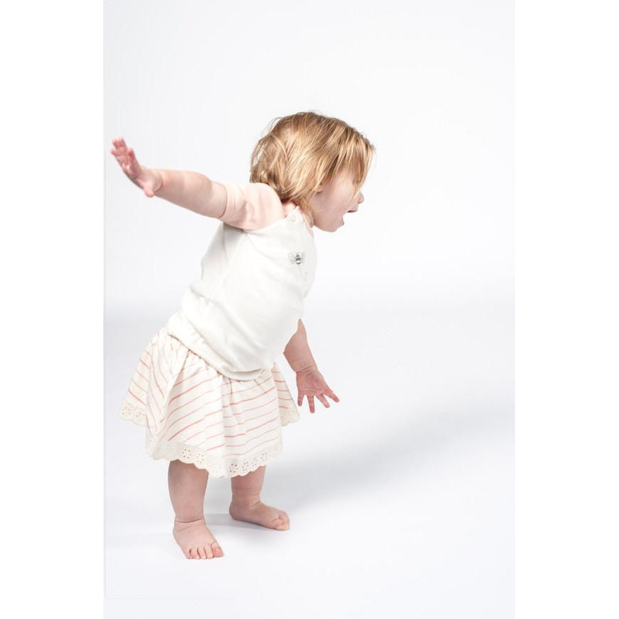 Peach French Stripe Skirt Bloomer - Sapling Organic Baby Clothes