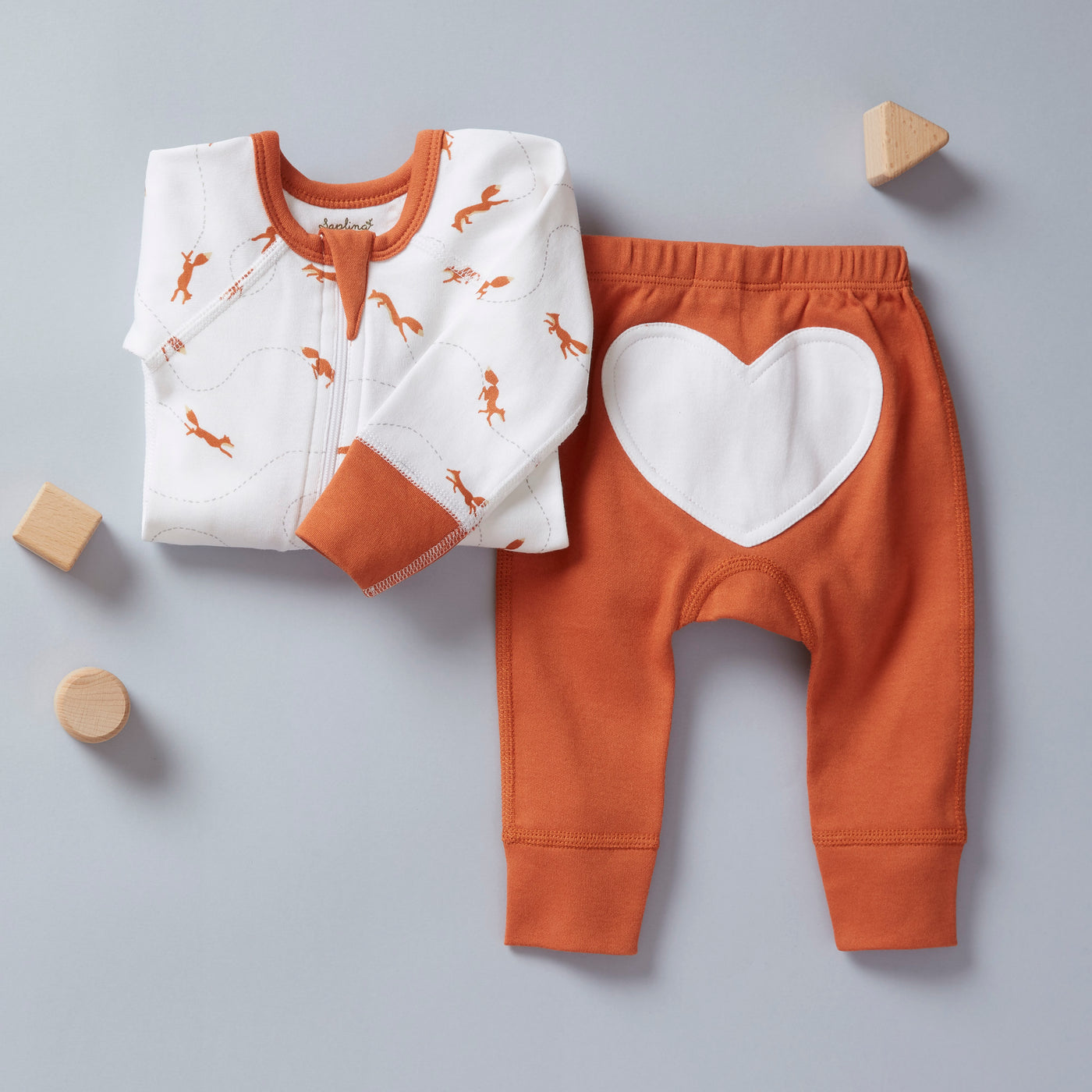 Fox Brown Heart Pants - Sapling Organic Baby Clothes