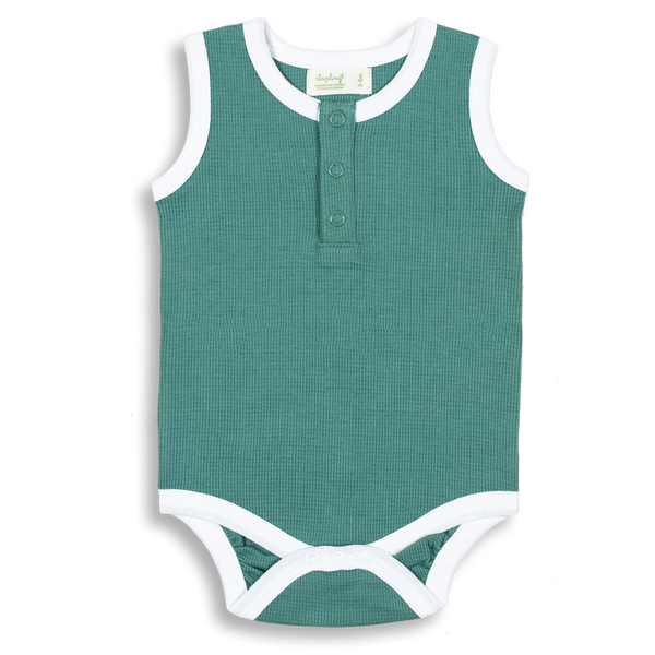 Spruce Green Waffle Tank Bodysuit - Sapling Organic Baby Clothes