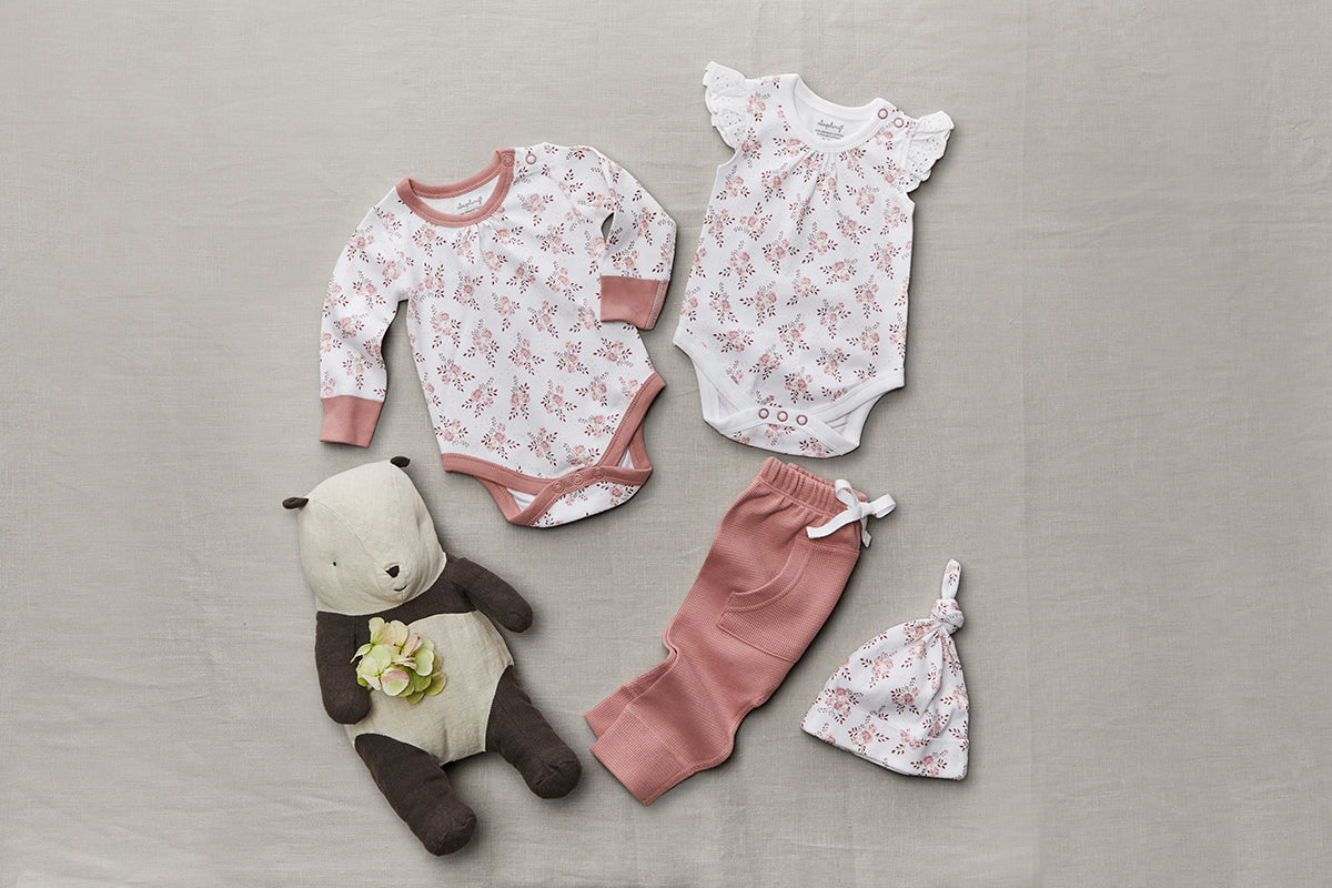Bramble Pink Heart Pants - Sapling Organic Baby Clothes