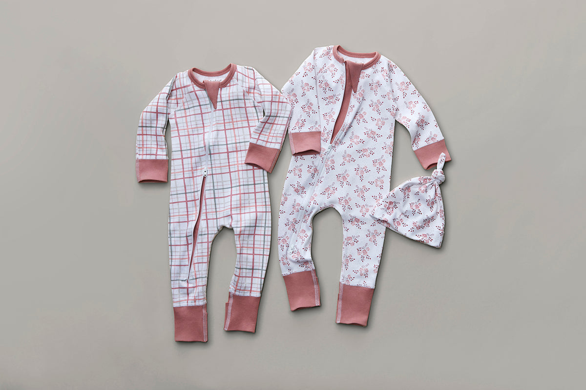 Blush Plaid Zip Romper - Sapling Organic Baby Clothes