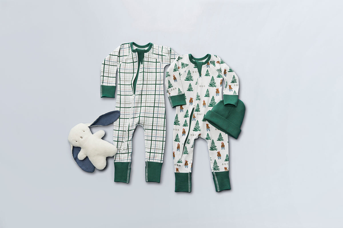 Spruce Plaid Zip Romper - Sapling Organic Baby Clothes