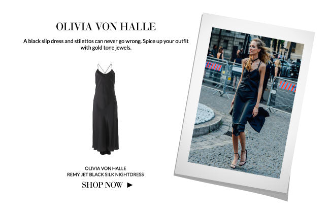 Sleepwear as streetwear: Olivia Von Halle Remy Jet Black Silk Nightdress