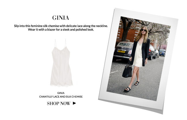 Sleepwear as streetwear: Ginia Chantilly Lace and Silk Chemise