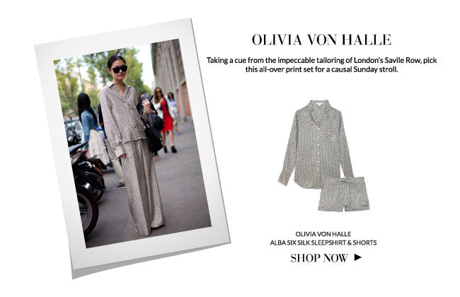 Sleepwear as streetwear: Olivia Von Halle Alba Six Silk Sleepshirt and shorts