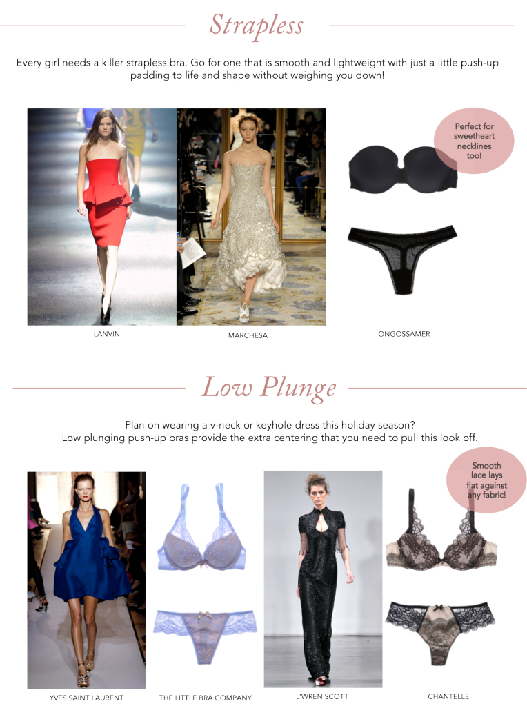 strapless dress, strapless bra, lanvin, marches, on gossamer bra, low plunge dress, yves saint laurent, saint laurent dress, the little bra company, l'wren scott, chantelle bra, push-up bra