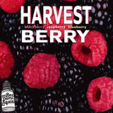 Bottle of Harvest Berry best vape juice by tbd liquids premium e-juice raspberry blackberry flavor