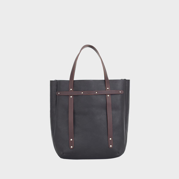 ALFIE Black and Brown Mens Leather Tote Bag