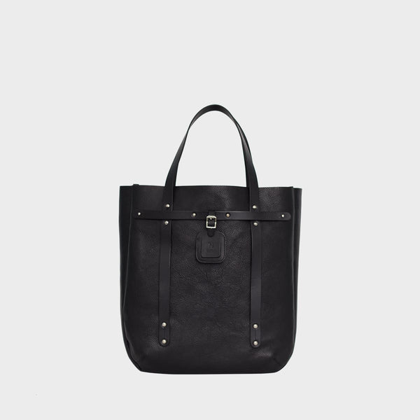 ALFIE Black Mens Leather Tote Bag