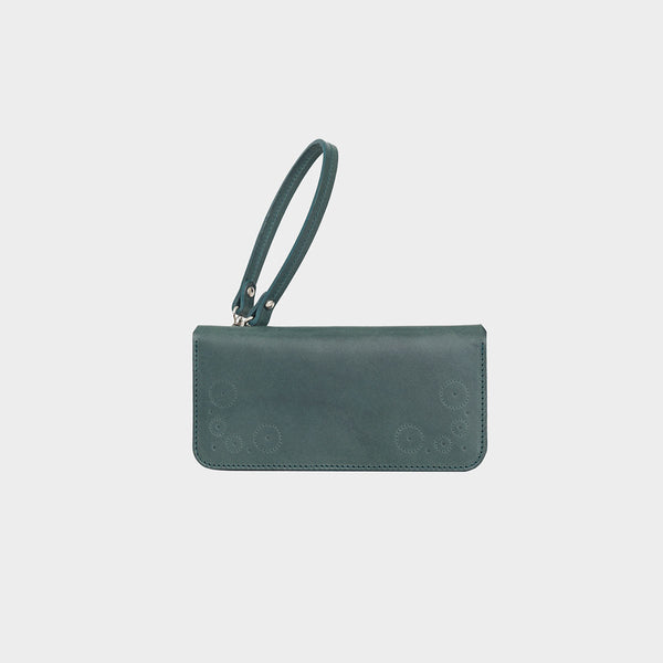 ESME Teal Leather Clutch Purse with Removable Wrist Strap