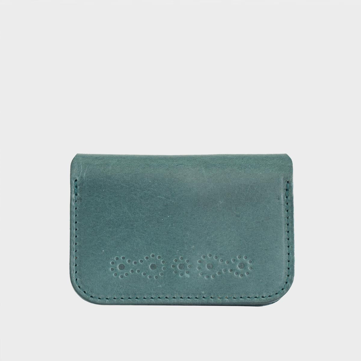 FIELD Teal Leather Folding Card Case