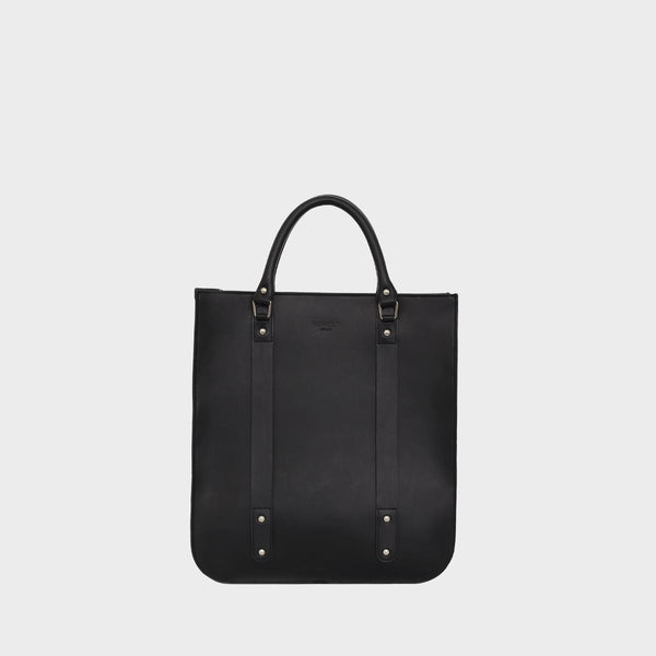 MAX Mens Rigid Black Leather Zip Top Tote Bag