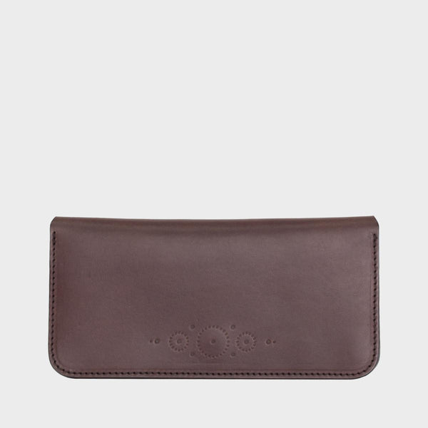 SARAH Brown Leather Clutch Purse with Strap Handle