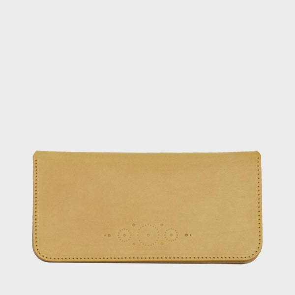 SARAH Mustard Leather Clutch Purse with Strap Handle