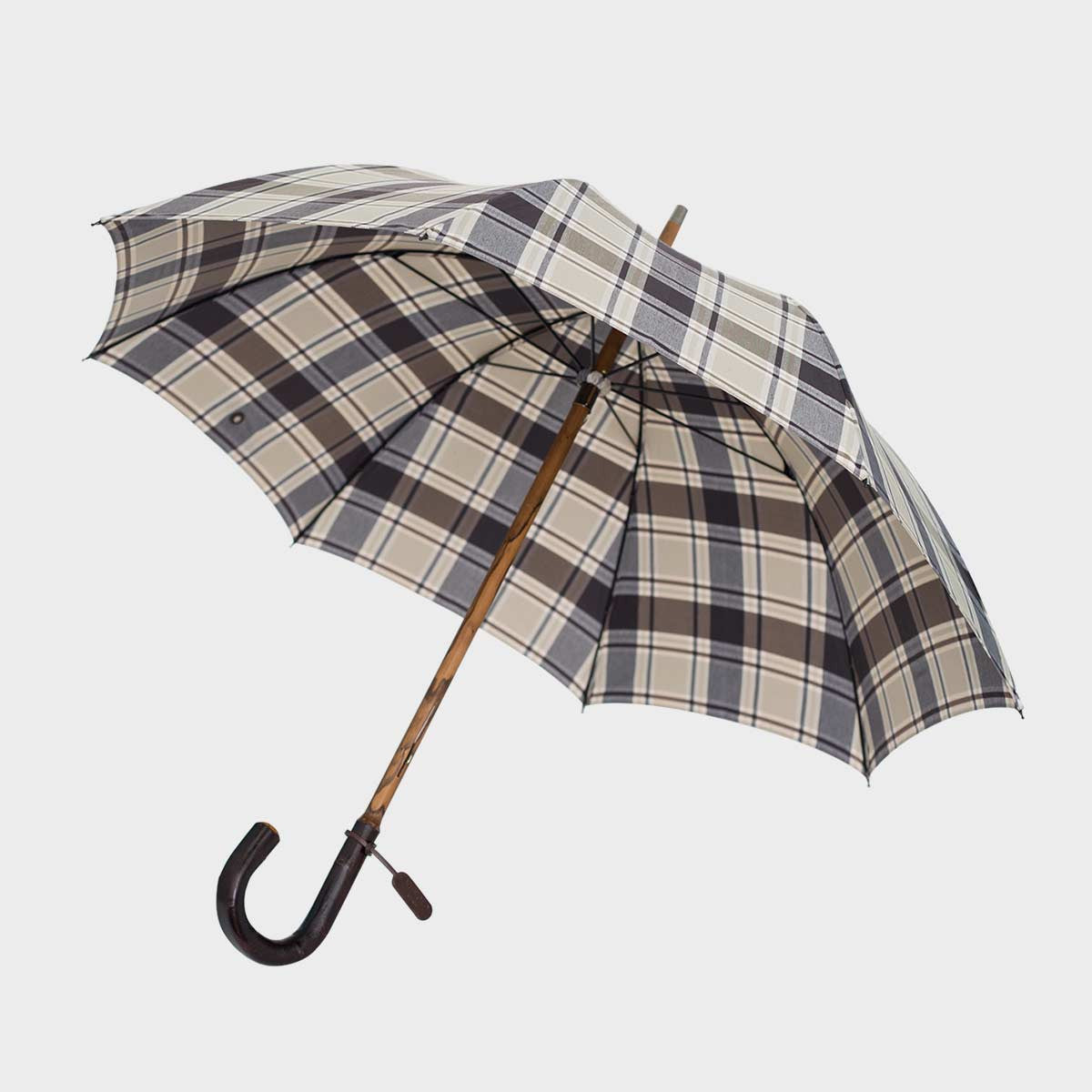 ETHAN Brown Check Umbrella with Chestnut Handle and Shaft