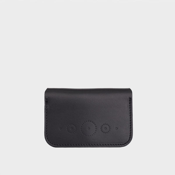 WINNIE Black Leather Card Holder with Snap Closure