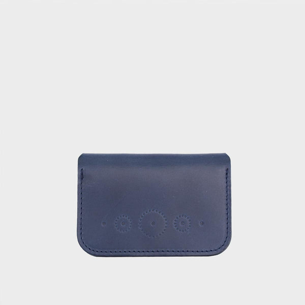 WINNIE Blue Leather Card Holder with Snap Closure