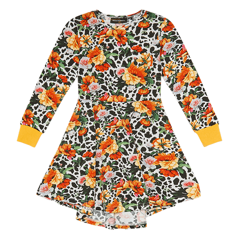 ROCK YOUR BABY | Snow Leopard Floral Waisted Dress