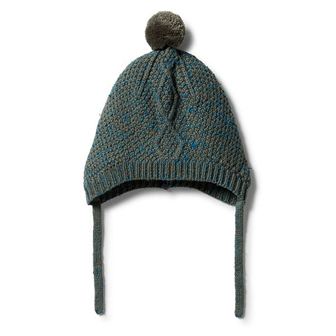 WILSON + FRENCHY | Knitted Cable Bonnet Dusty Olive Fleck