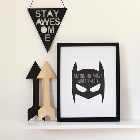 "Batman Print ""Saving The World While I Sleep"""