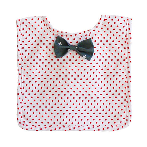 ALIMROSE | Bow Tie Bib - Grey Red