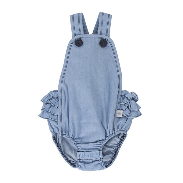 PEGGY | Jane Playsuit Chambray With Navy Buttons
