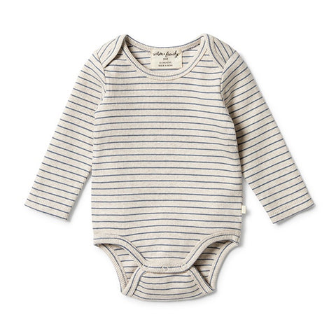 WILSON + FRENCHY | Organic Stripe Rib Bodysuit Denim Blue