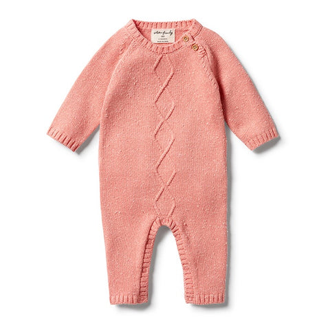 WILSON + FRENCHY | Knitted Cable Ruffle Growsuit