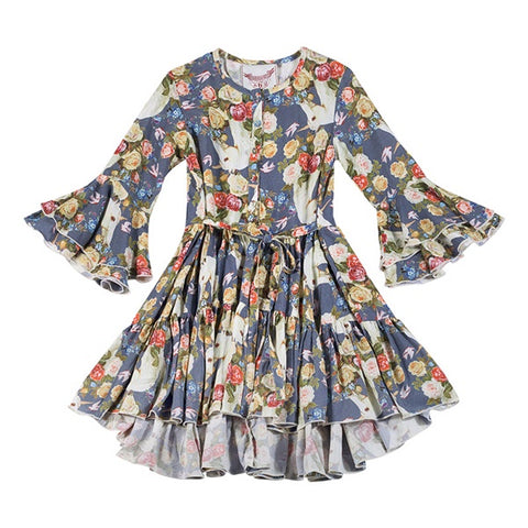 PAPER WINGS | Bell Sleeve Frilled Dress Rose Unicorn Blue