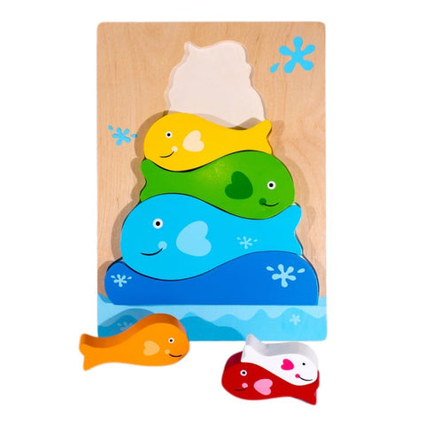 Wooden Fish Stacker Puzzle