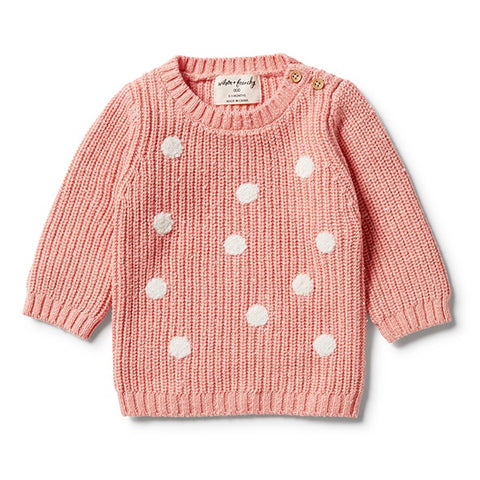 WILSON + FRENCHY | Knitted Spot Jumper Flamingo Fleck