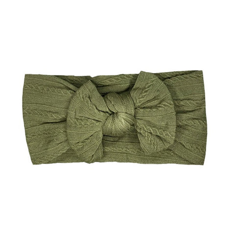 ARCH N OLLIE | Cable Knot Stretch Bow Olive