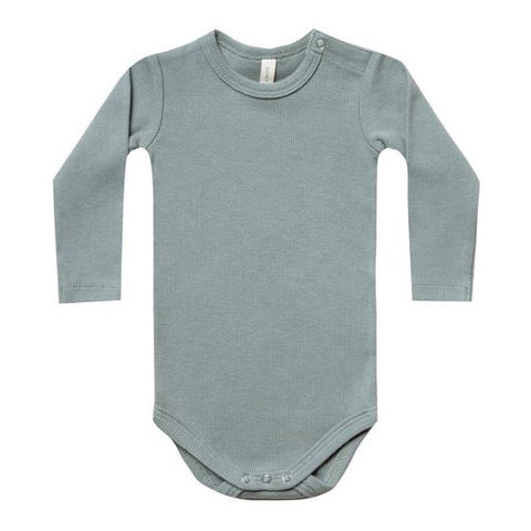 QUINCY MAE | Ribbed Longsleeve Bodysuit Sea