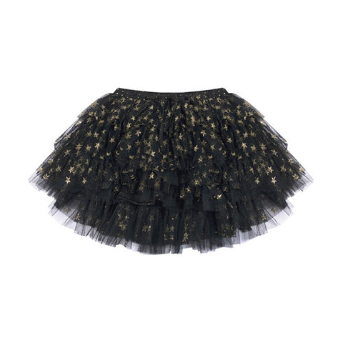 PAPER WINGS | Mesh Skirt Black/Gold Stars
