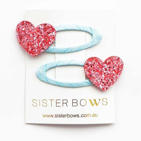 SISTER BOWS | Clippies (Pair) Pink Heart