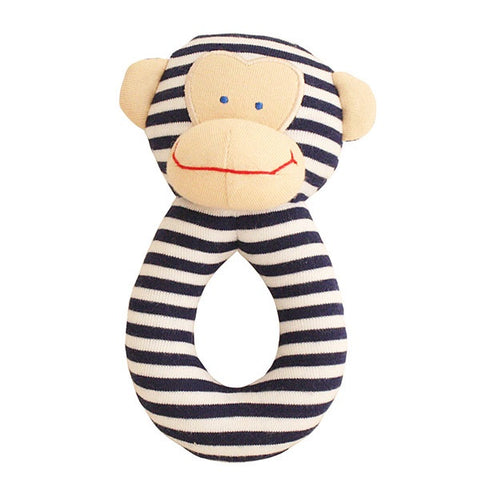 Alimrose Monkey Grab Rattle - Navy