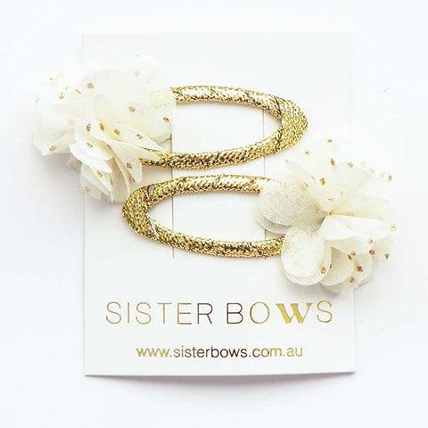 SISTER BOWS | Clippies (Pair) Gold Spotty Flower
