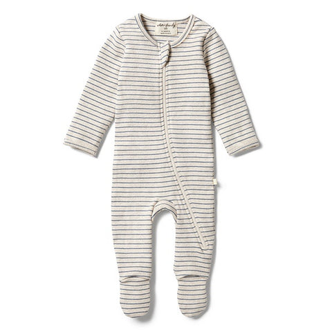 WILSON + FRENCHY | Organic Stripe Rib Zipsuit Denim Blue