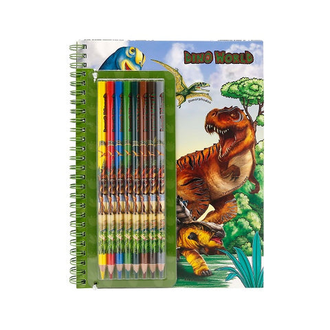 DINO WORLD | Colouring Book With Coloured Pencils