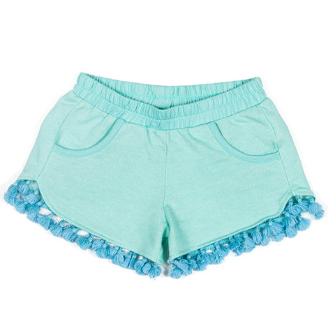 Paper Wings Light Fleece Tassle Shorts - Mint