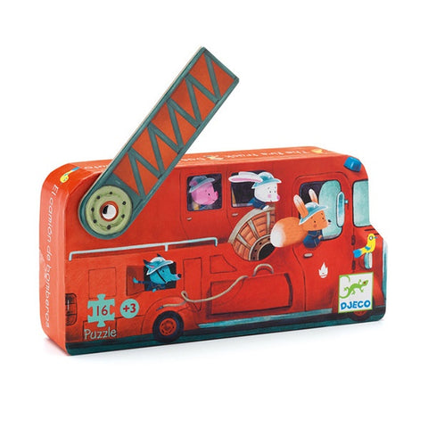 DJECO | The Fire Truck - 16pc Silhouette Puzzle