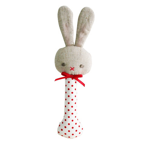 ALIMROSE | Baby Bunny Stick Rattle - Red Spot