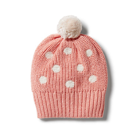 WILSON + FRENCHY | Knitted Spot Hat Flamingo Fleck