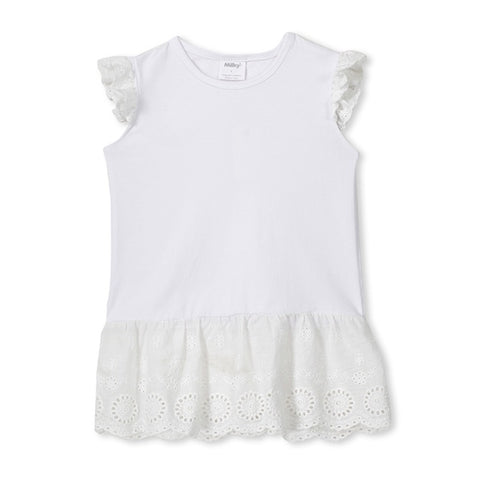 MILKY | White Broderie Frill Tee